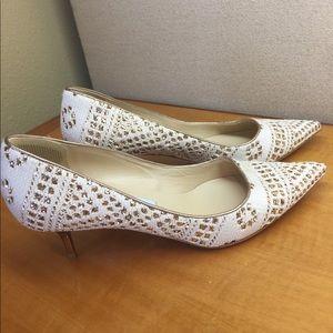 Jimmy Choo *authentic* white/gold kitten heel pump